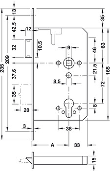 Cerradura antip/ánico BKS 12010153 1201 espiga 65 mm modelo E con cambio, perfil 24 x 235 mm, DIN izquierda