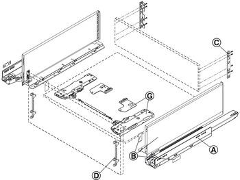 Blum Set legrabox Free C Tip-On BLUMOTION NL = 500 mm 70 kg acier inoxydable