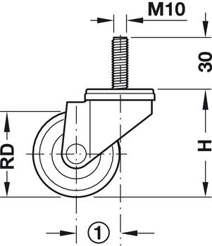Design61 ruedas de goma Ruedas universales para muebles con conexi/ón en U zapata de placa con tornillo de rosca ruedas protectoras para el suelo ruedas con tope 4 unidades 22 mm