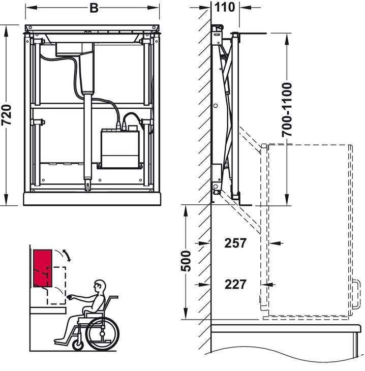 Elevador de armario superior para armarios superiores con for Altura de armario